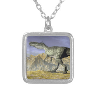 Monolophosaurus dinosaur in the desert - 3D render Silver Plated Necklace