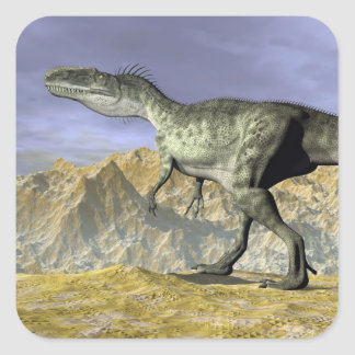 Monolophosaurus dinosaur in the desert - 3D render Square Sticker