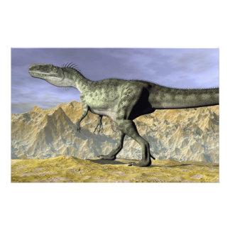 Monolophosaurus dinosaur in the desert - 3D render Stationery