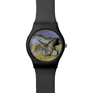 Monolophosaurus dinosaur in the desert - 3D render Watch