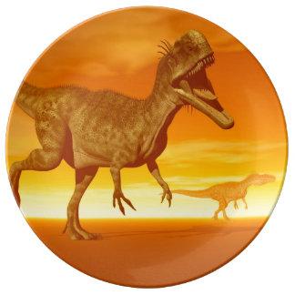 Monolophosaurus dinosaurs- 3D render Porcelain Plate