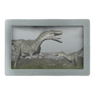 Monolophosaurus roaring - 3D render Rectangular Belt Buckle