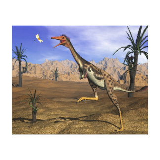 Mononykus dinosaur hunting - 3D render Canvas Print