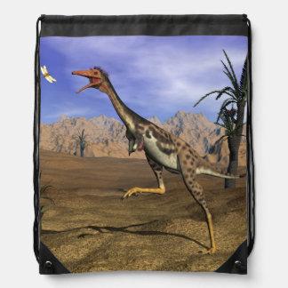 Mononykus dinosaur hunting - 3D render Drawstring Bag
