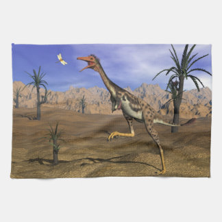 Mononykus dinosaur hunting - 3D render Kitchen Towel