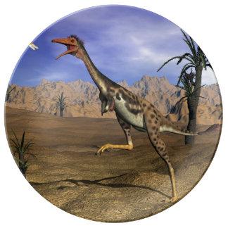 Mononykus dinosaur hunting - 3D render Porcelain Plates
