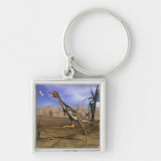 Mononykus dinosaur hunting - 3D render Silver-Colored Square Keychain