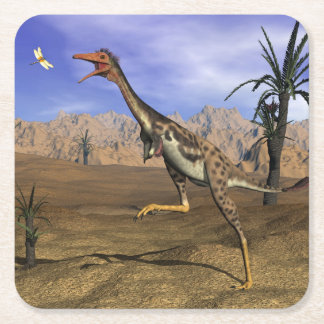 Mononykus dinosaur hunting - 3D render Square Paper Coaster