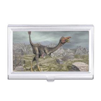 Mononykus dinosaur in the desert - 3D render Business Card Holder