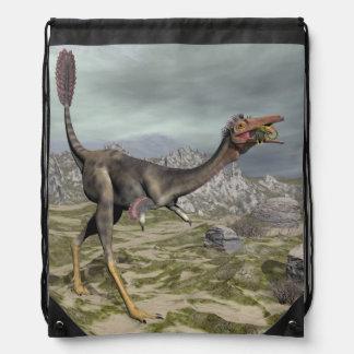 Mononykus dinosaur in the desert - 3D render Drawstring Bag