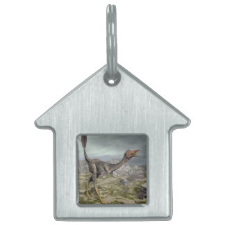 Mononykus dinosaur in the desert - 3D render Pet Name Tag