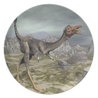Mononykus dinosaur in the desert - 3D render Plate