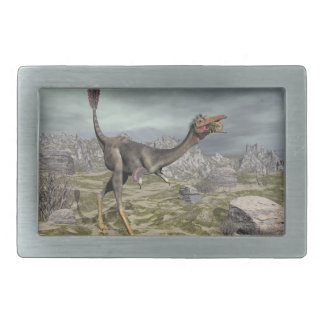 Mononykus dinosaur in the desert - 3D render Rectangular Belt Buckle