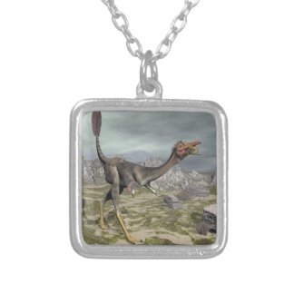 Mononykus dinosaur in the desert - 3D render Silver Plated Necklace