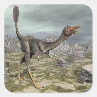 Mononykus dinosaur in the desert - 3D render Square Sticker