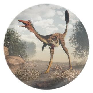 Mononykus dinosaur in the desert party plates