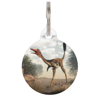 Mononykus dinosaur in the desert pet tag