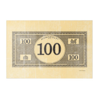 Monopoly | Vintage 100 Dollar Bill Acrylic Wall Art