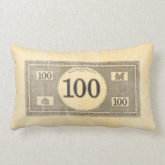 Monopoly   Vintage 100 Dollar Bill Lumbar Pillow