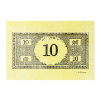 Monopoly   Vintage 10 Dollar Bill Acrylic Wall Art