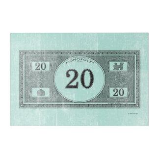 Monopoly   Vintage 20 Dollar Bill Acrylic Wall Art