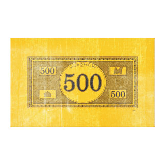 Monopoly | Vintage 500 Dollar Bill Canvas Print