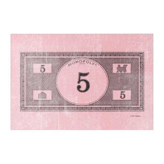 Monopoly   Vintage 5 Dollar Bill Acrylic Wall Art
