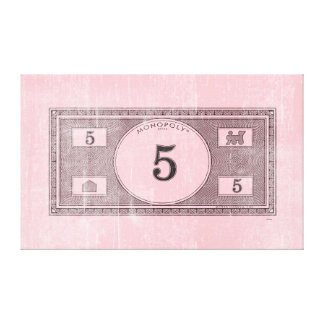 Monopoly | Vintage 5 Dollar Bill Canvas Print