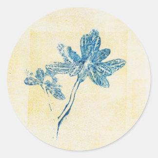 Monoprint Blue Leaf Plant Sticker
