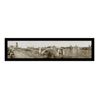 Monroe Bridge Spokane Photo 1911 Poster