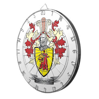 Monroe Family Crest Coat of Arms Dartboard
