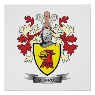 Monroe Family Crest Coat of Arms Poster