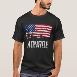 Monroe Louisiana Skyline American Flag Distressed T-Shirt