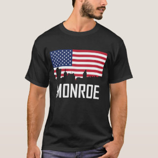 Monroe Louisiana Skyline American Flag T-Shirt