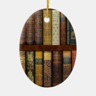 Monsieur Fancypantaloons' Instant Library Bookcase Ceramic Oval Ornament