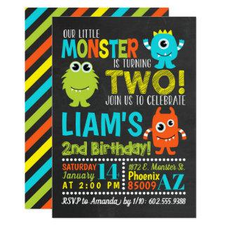 Monster 2nd Birthday Party Invitation