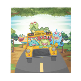 Monster and bus notepad