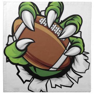 Monster animal claw holding American Football Ball Napkin