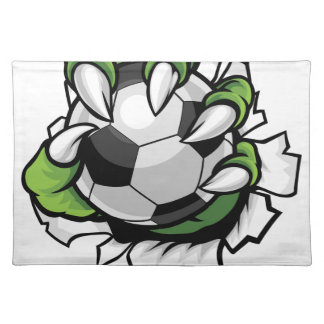 Monster animal claw holding Soccer Football Ball Placemat