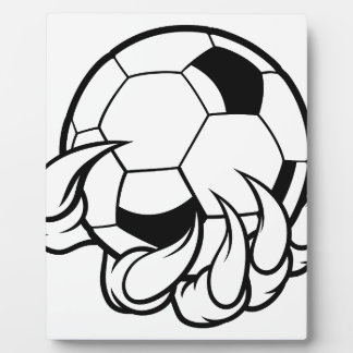Monster animal claw holding Soccer Football Ball Plaque