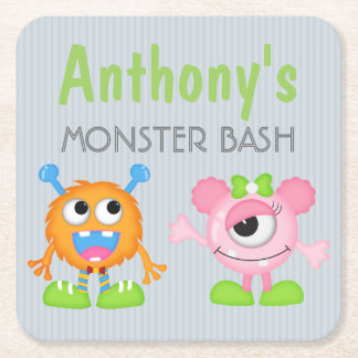 Monster Bash any age personalized Square Paper Coaster