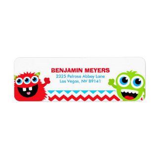 Monster Bash Birthday Party Return Address Label
