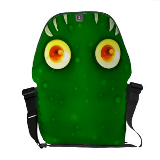 Monster Big Eyes green messenger bag