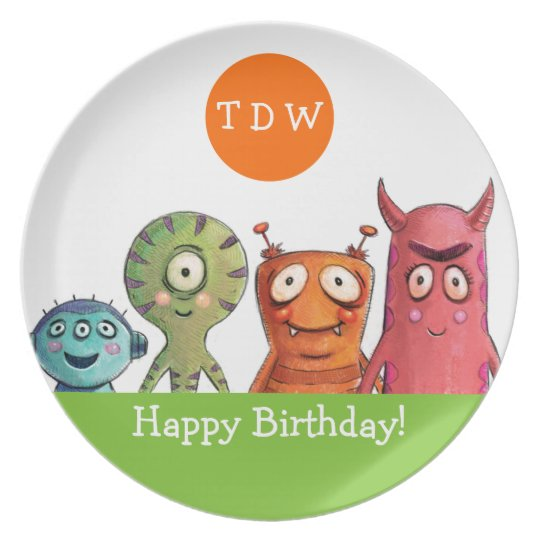 Monster Birthday Party Monogrammed Plate