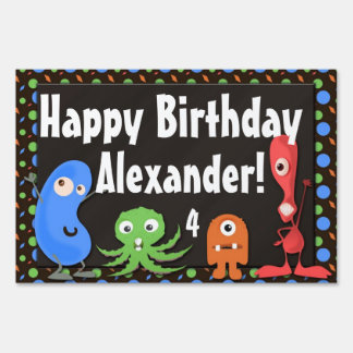 Monster Birthday Party Personalized Yard Sign