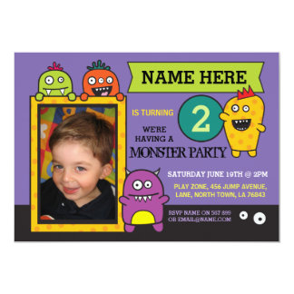 Monster Birthday Party Photo Fun Invite
