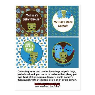MONSTER Boy Baby Shower Cupcake Topper Peek a Boo Postcard