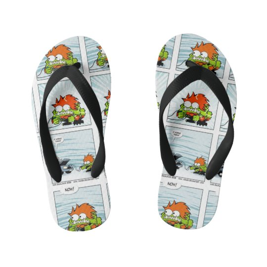Monster Comic Strip Custom Flip Flops, Kids Kid's Flip Flops