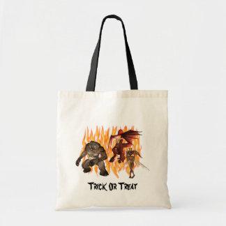 Monster Demon Gremlin Flames Halloween Tote Bag