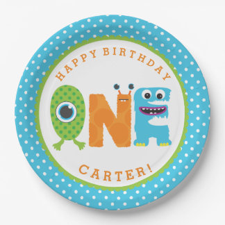Monster First Birthday Paper Plates